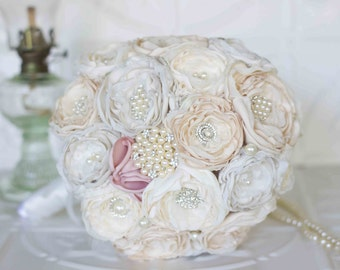 Fabric Flower Bouquet, Satin and Lace and Brooch Bridal Bouquet, shabby chic flowers, Ivory, Cream and Pink