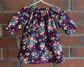Long sleeved baby dress, Boho peasant dress purple,  size 3 6 12 18 24 mths, Art Gallery Indie Boheme cotton fabric, infant dress