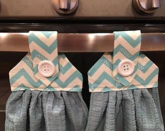 Set of 2 hanging kitchen towels, for  every day use. Turquoise towel with Turquoise  Chevron pattern fabric