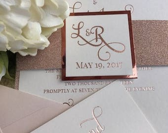 rose gold foil wedding invitation rose gold metallic glitter invitation rose gold foil - Rose Gold Wedding Invitations