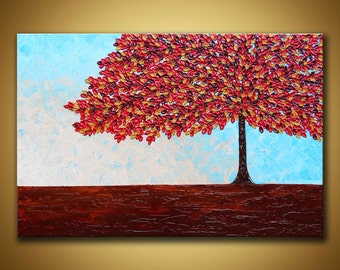 Red tree painting Original abstract art large contemporary painting Fall tree painting, Autumn tree wall art 3d 24x36 textured painting