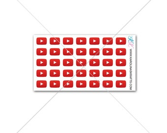 Itty Bitty Youtube Stickers or Youtube Play Button Stickers! Itty Bitty Planner Stickers, Sew Much Crafting Stickers  #SQ00647