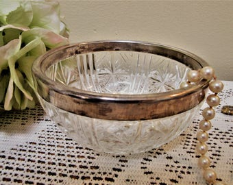Crystal Bowl Cut Glass Silver Rim Small Candy Dish Made In Italy Serving Vintage blm