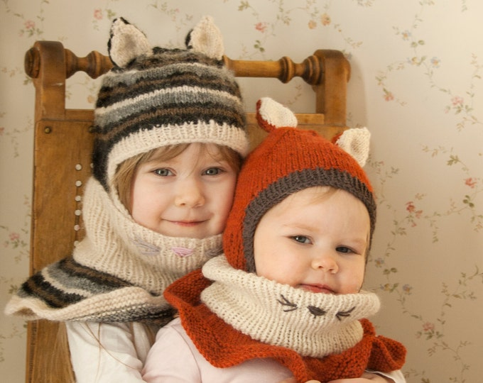 KNITTING PATTERN balaclava cat fox hat Evan with outer cowl (baby and kids sizes)