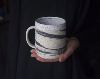 Extra large 500ml mug - handmade wheel thrown marbled speckled stoneware, nordic minimal natural