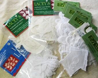 11pkgs Lot Lacey's White Lace Fall Leaves, Bugs, Flowers Motif Applique Doily Destash 1221