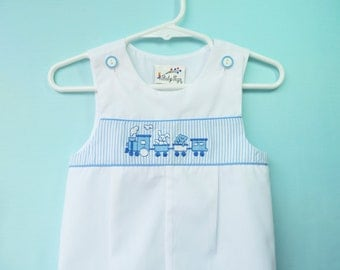 Vintage Baby Boys White & Blue  Train Romper  by Baby Togs   9-12 Months  Like New
