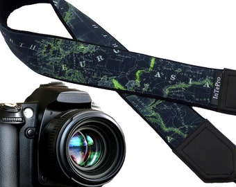Map camera strap. Black and lime neck camera strap. North America, Europe and Asia. World map. Birthday gift.