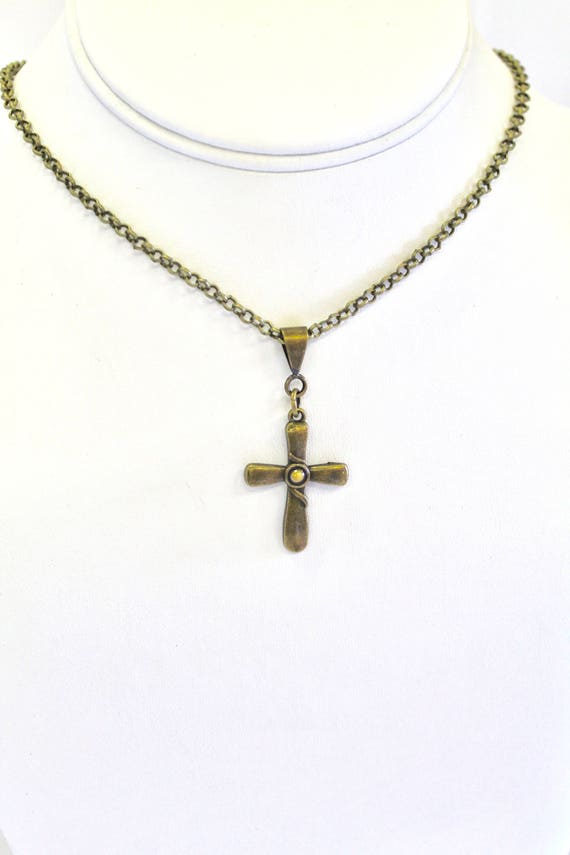 Antique Brass Cross Mustard Seed Necklace, Luke 17:6 Bible Verse Jewelry, Bible Verse Gift For Her, Faith Jewelry Graduation Gift