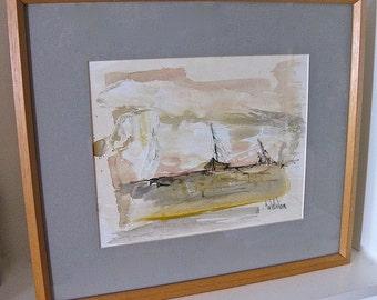 Original Framed Painting by Geno Hollander 1979 on Paper