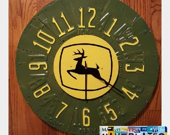 Repurposed handmade John Deere working license plate clock