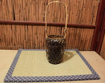 Small  Vintage Japanese Ikebana Flower Arrangement Bamboo Basket