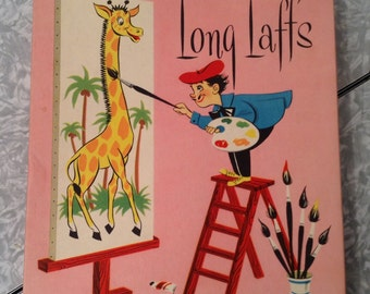 Long Laffs Comic Novelty Greeting Cards Box Ephemera Store Display 1950s good Housekeeping Pink Painter Artist Giraffe Easel