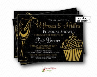 Personal Shower Invitations   Printed or Printable   Gold Black Lingerie Party Invite   Bachelorette Party Invites   Muffins & Mimosas