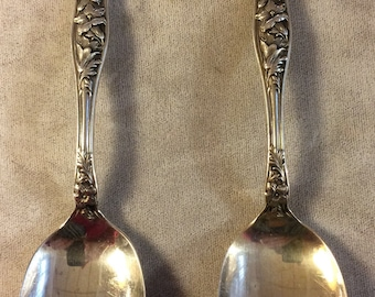 Pair Antique Sterling Silver Spoons