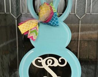 Spring door decor, spring decor, easter door hanger, spring door hanger, bunny door hanger, monogram bunny, monogram door hanger