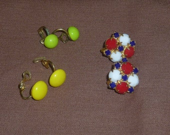 Vintage Earrings 3 Pair Clip On Estate Jewelry Excellent Condition 1960's