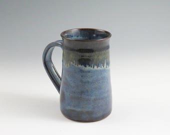 Large Blue Handmade Ceramic Pottery Mug,14 oz. Coffee Mug,Beer Mug,Hot chocolate mug,Ready to Ship,Beer Stein,Soul Shine Pottery,Unique Mug