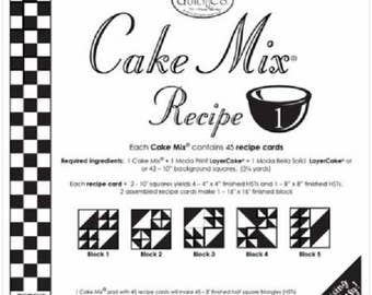 Moda Cake Mix Recipe #1-4  Paper Piecing Recipe Cards