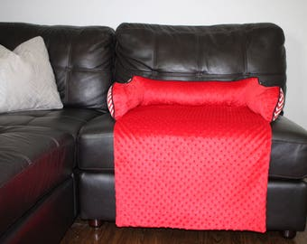 NEW Sofa Bed. Made for your best friend. Style: Red Minky and Chavron