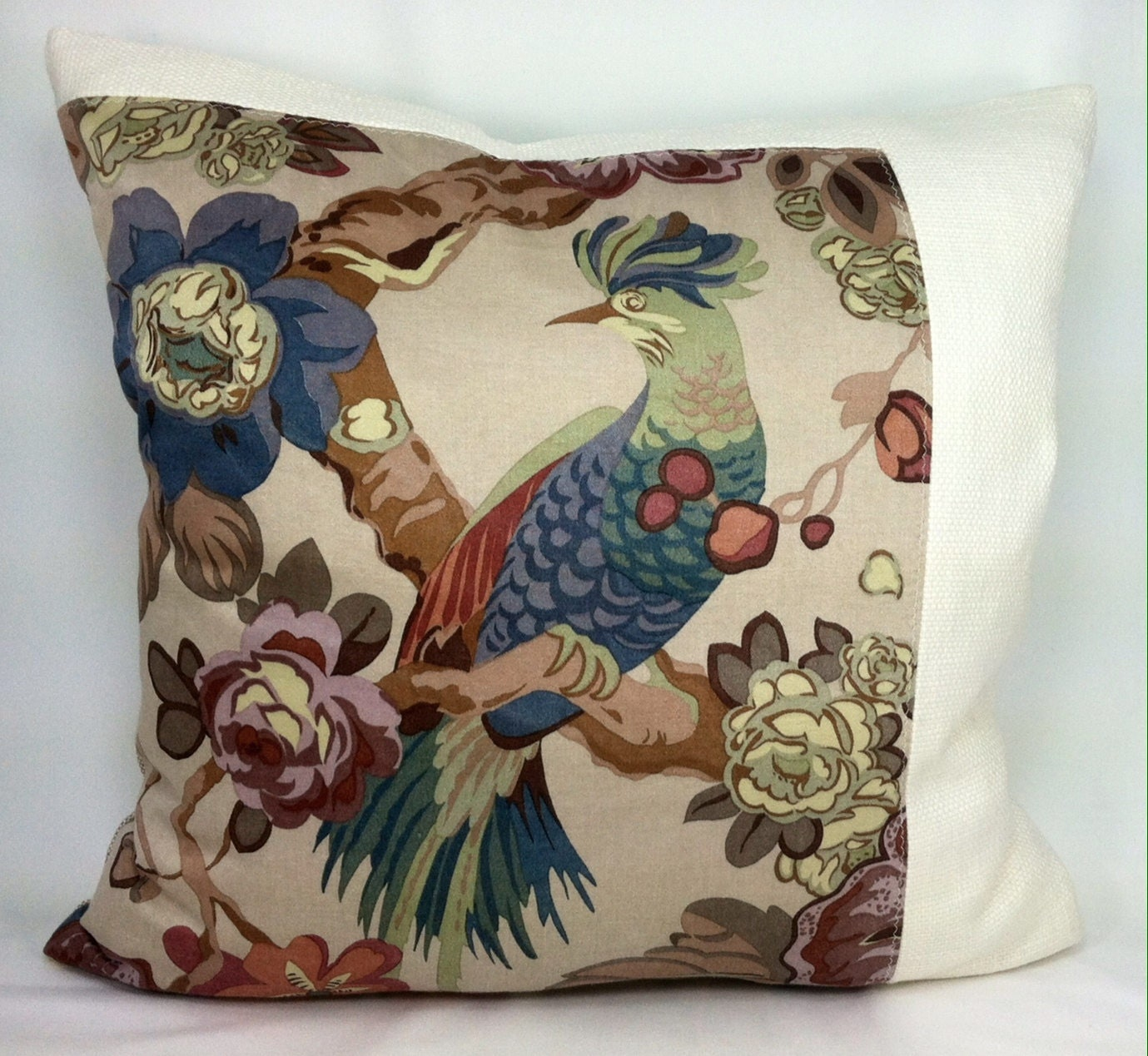 20 x 20 Throw Pillow Bird Motif Print Cream