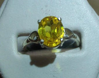 Citrine Sterling Silver Ring - Citrine is 10 X 8 mm / 3.5 ct - size 6.5 - beautiful golden and great flash