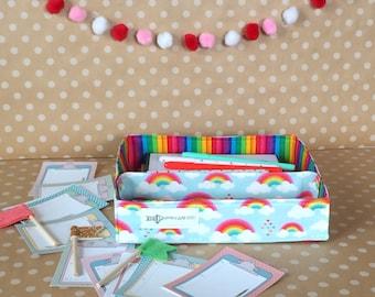 Portable Fabric Tote. Planner Sticker Basket. Handmade Storage Tote. Cute Fabric Bin. Craft Organization. Small Desk Organizer. Rainbow Room