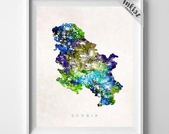Serbia Map Print, Belgrade Print, Serbia Poster, Map Art, Bedroom Decor, State Art, Map Print, Travel Poster, Dorm Decor