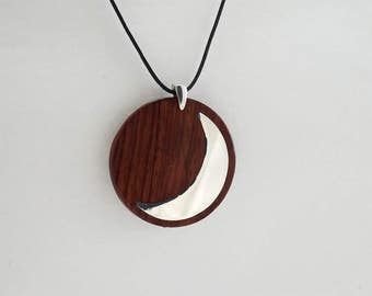 PENDANT MOON PLANETARY Symbol Wooden High quality Jewelry by Silver 925 and Rosewood