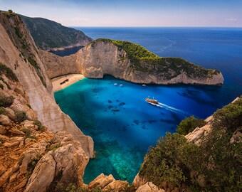 Shipwreck Beach, Greece Photography, Navagio, Zakynthos, Tropical, Mediterranean Sea, Islands, Beaches- Travel Photography, Print, Wall Art