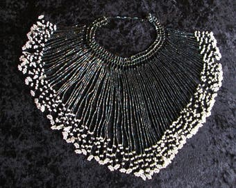 Vintage Ethnic Genuine African iridescent black & white beaded bib multistrand choker necklace handmade in Botswana