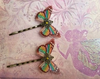 Rainbow Butterfly Hair Clips