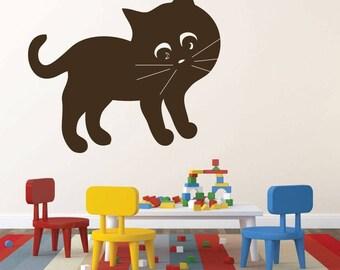 CustomVinylDecor Cat Wall Decals - Kids Playroom Vinyl Wall Decor, Nursery Art