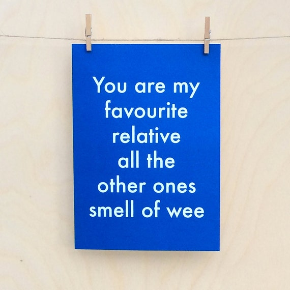 Favourite Relative Card, Funny birthday card, funny love birthday card, funny valentines card, funny relative card