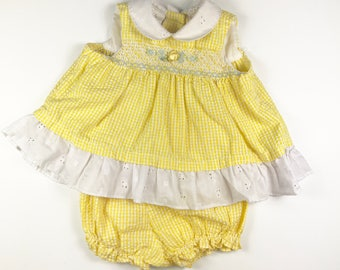 Vintage Yellow Smocked Baby Girl Outfit Dress with Diaper Cover Size 3-6 months