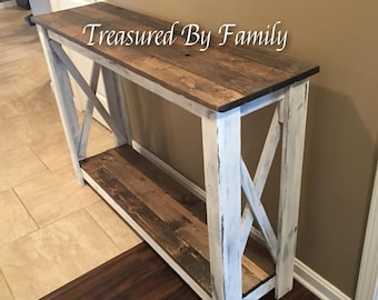 Rustic Farmhouse Style Hallway Table-entryway table-sofa Table in Distressed White