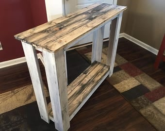 Dark walnut with distressed white frame hall table/buffet table/library table/ entry table