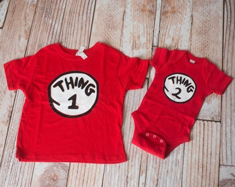 Dr. Seuss Thing 1 and Thing 2 Shirts matching for Siblings in Red