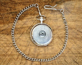 Libra Pocket Watch Zodiac Sign Pewter Fronted Free Engraved Gift Boxed Birthday Gift