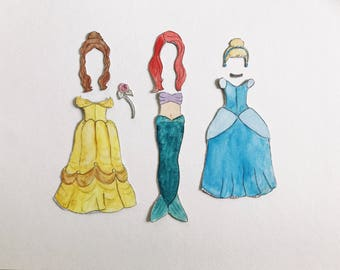 Premade Princess Paper Doll Costumes | magnetic watercolor portrait