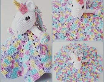 Lavender Unicorn Snuggle Blanket - PDF Crochet Pattern Instant Download