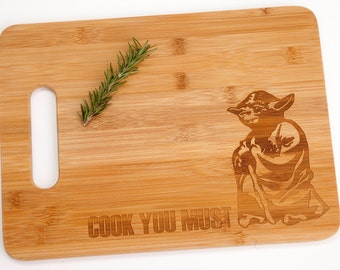 Star Wars Yoda Cook You Must Engraved Cutting Board Foodie Chef Cooking Gift