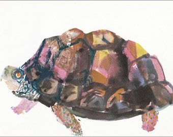 t for turtle terrapin pet animal tortoise 60's mid century children's illustration retro nursery decor Brian Wildsmith 7.25x9.75 inches