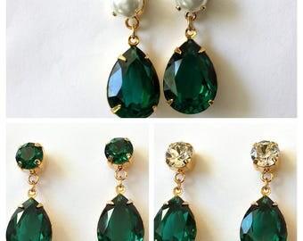 Swarovski Emerald Crystal Earrings Pearl and Emerald Drop Emerald Earrings Swarovski Crystal Drop Earrings Emerald Green and Pearl Jewelry