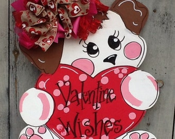 Valentines sign, valentines door hanger, valentines puppy sign, puppy door sign, valentines heart sign, valentines card, valentines decor
