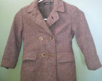 Vintage Boys Peacoat, Brown Herringbone Wool, Montgomery Ward Junior Fashions