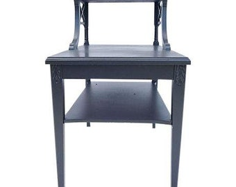 SALE! Org 299.00 Midcentury Mahogany Tier Side /End Table  Painted in Charcoal Gray