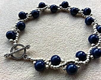handmade lapis and silver serpentine bracelet