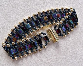 tila and seed bead bracelet in peacock shades with gold accents