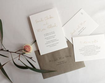 Gold and Charcoal Printed Wedding Invitation Set